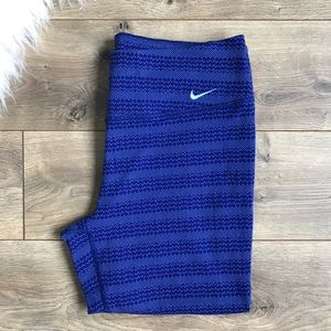 NIKE Dri-Fit Crops Leggings Blue Print Large